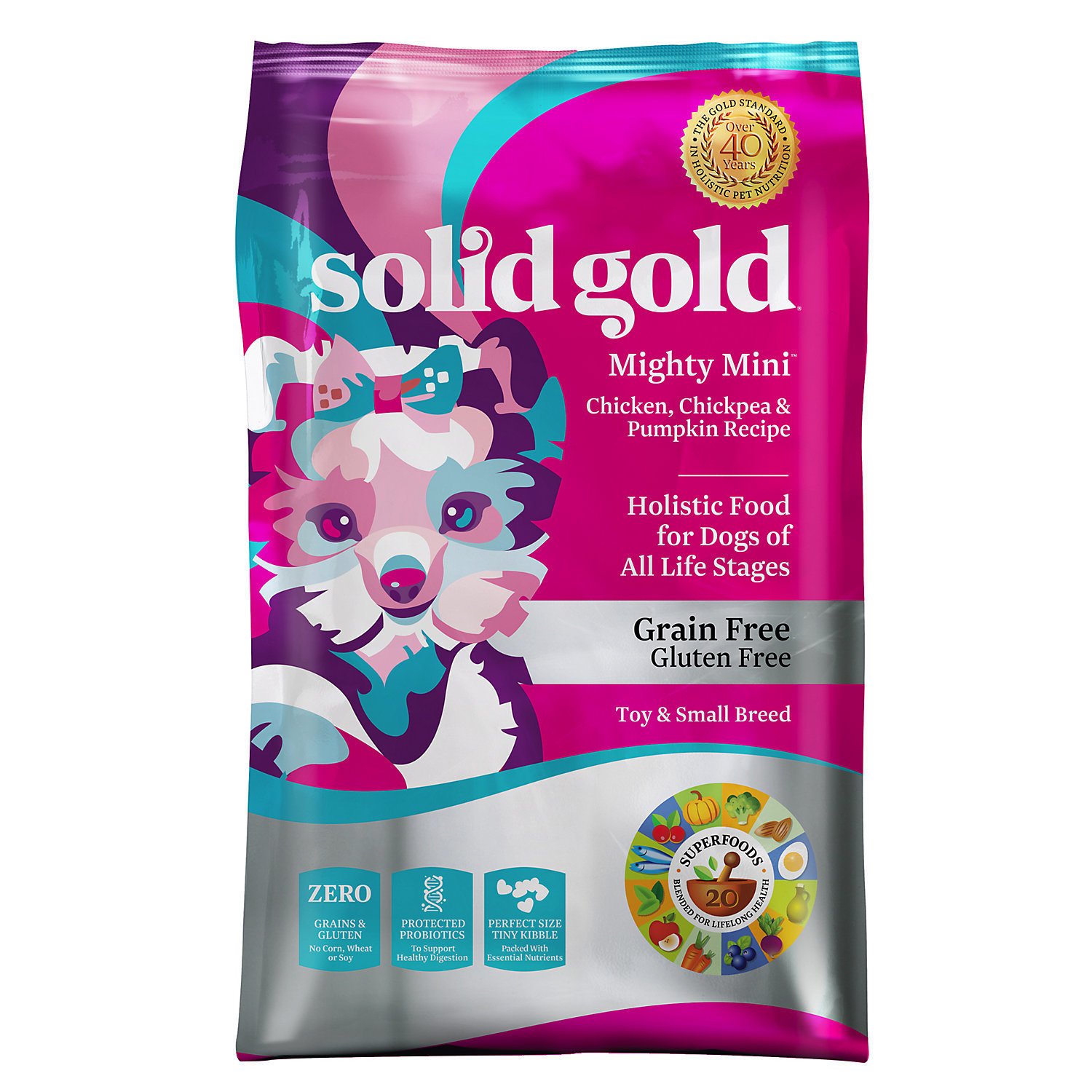 Solid Gold Mighty Mini Grain and Gluten Free Dry Dog Food, Chicken, Chickpeas 11 LBS.  (6/18) (A.M2)