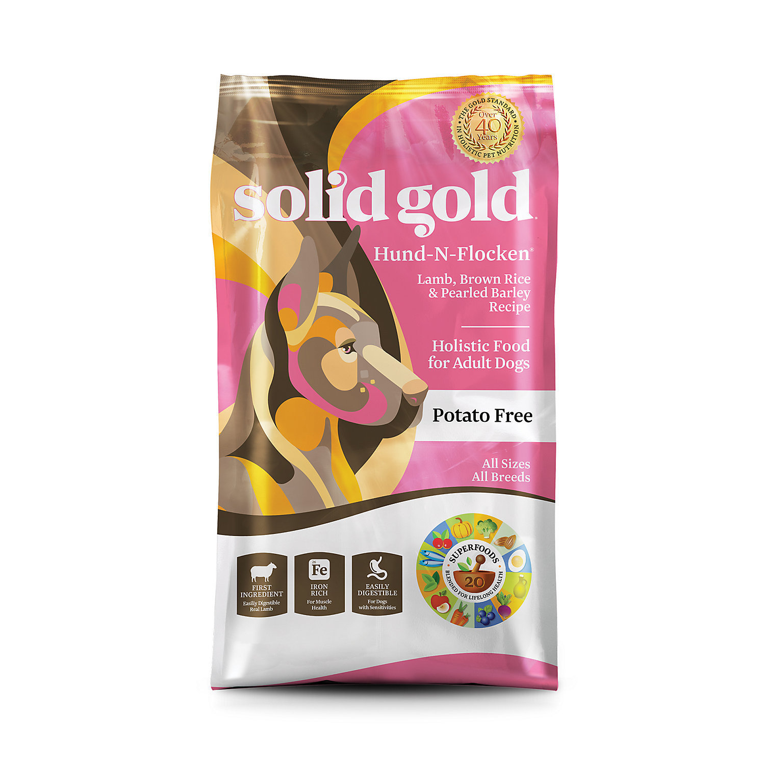 Solid Gold Hund-N-Flocken Lamb, Brown Rice & Pearled Barley Adult Dog Food, 28.5 lbs. (A.J2)