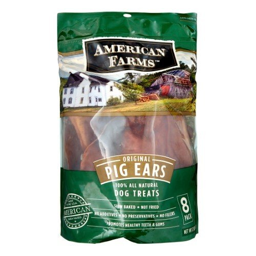 AMERICAN FARMS 100-Percent Pig Ears Bagged for Pets, 8-Pack (8/17) (T.D2)