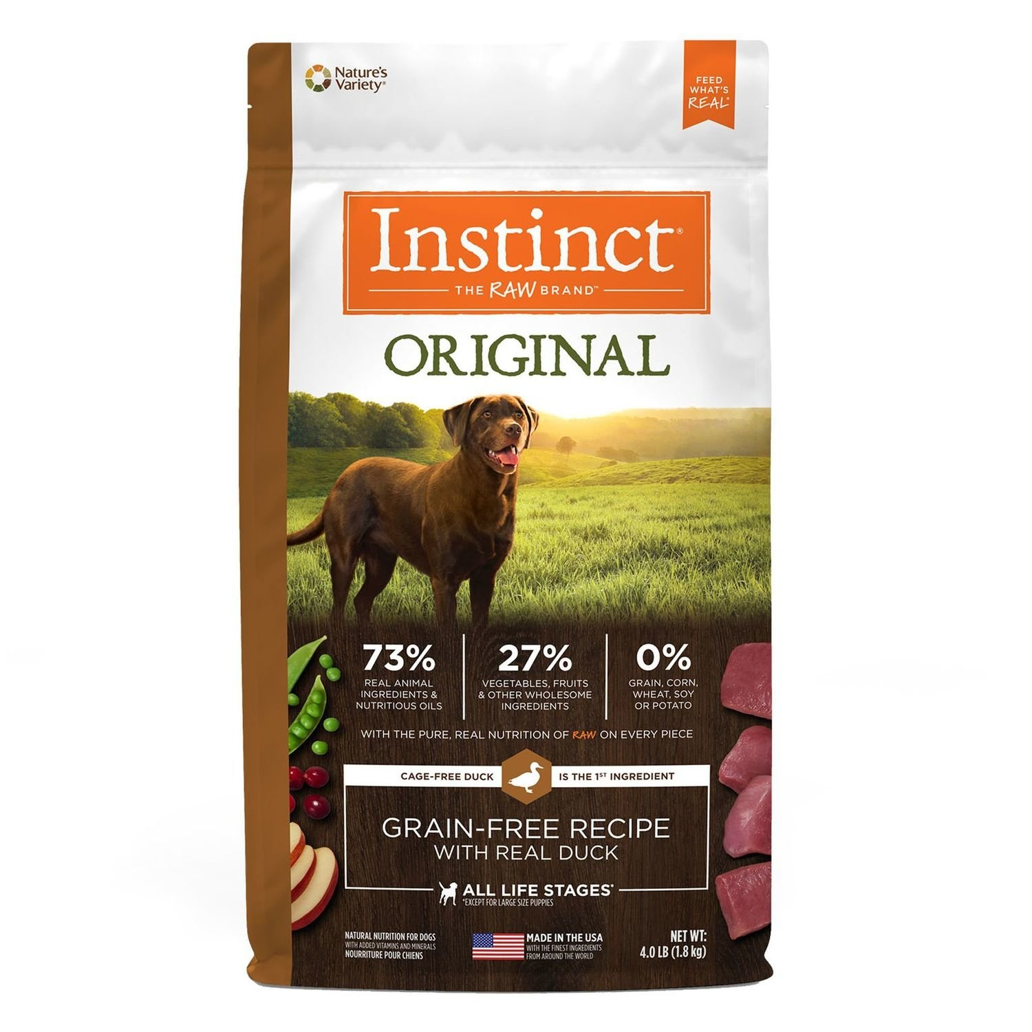 Nature's Variety Instinct Original Dog Food - Natural Grain Free Raw Duck size: 4 Lb Kibble (12/18) (A.H3)
