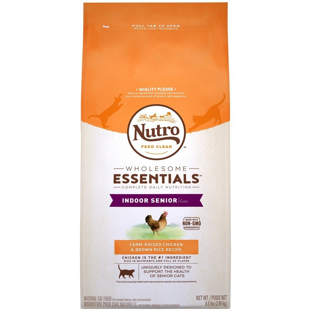 Nutro Natural Choice Chicken & Whole Brown Rice Indoor Senior Cat Food, 6.5 lbs. (12/18) (A.J1)