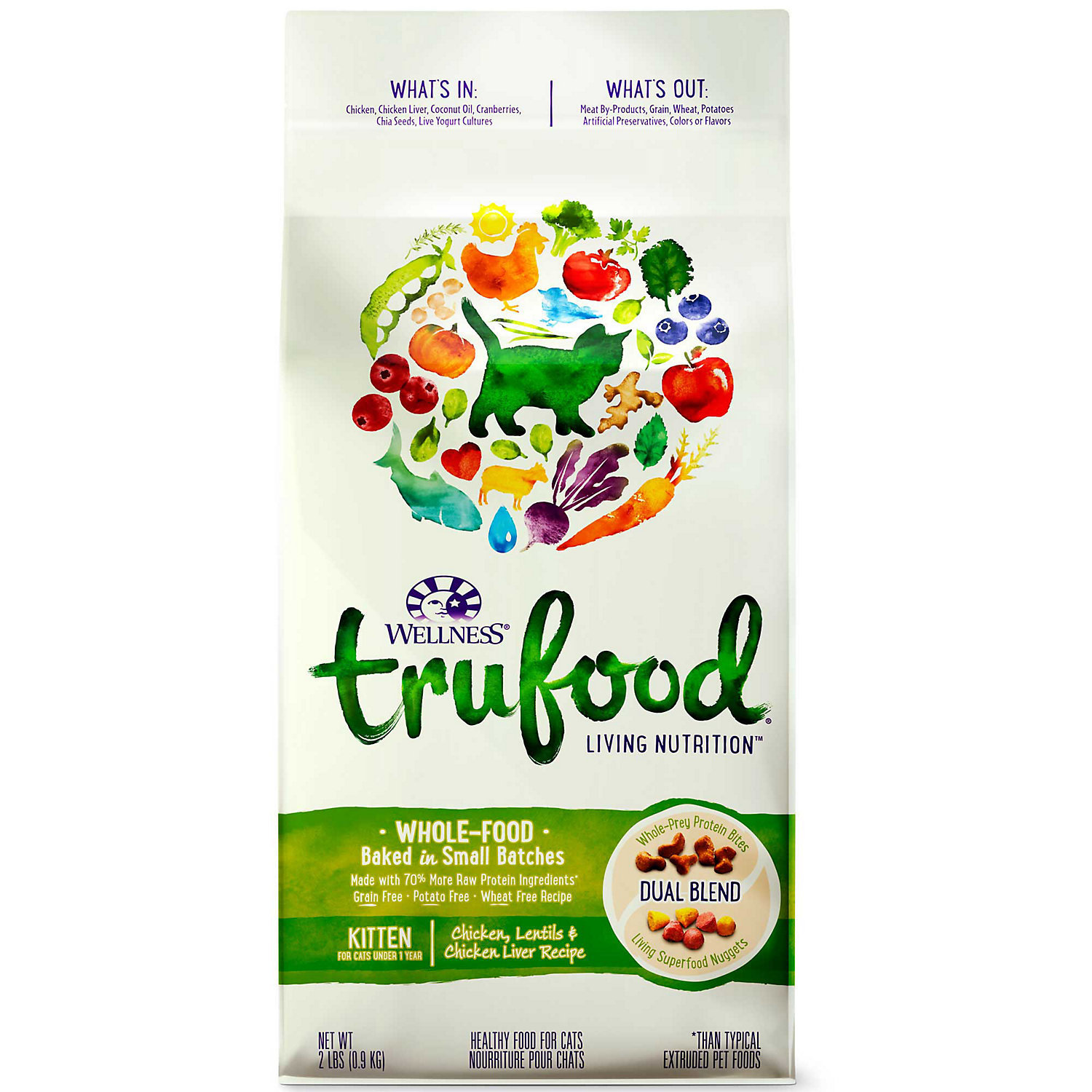 **SALE** Wellness TruFood Chicken, Lentils & Chicken Liver Kitten Food, 2 lbs. (11/17) (A.I1) **SALE**