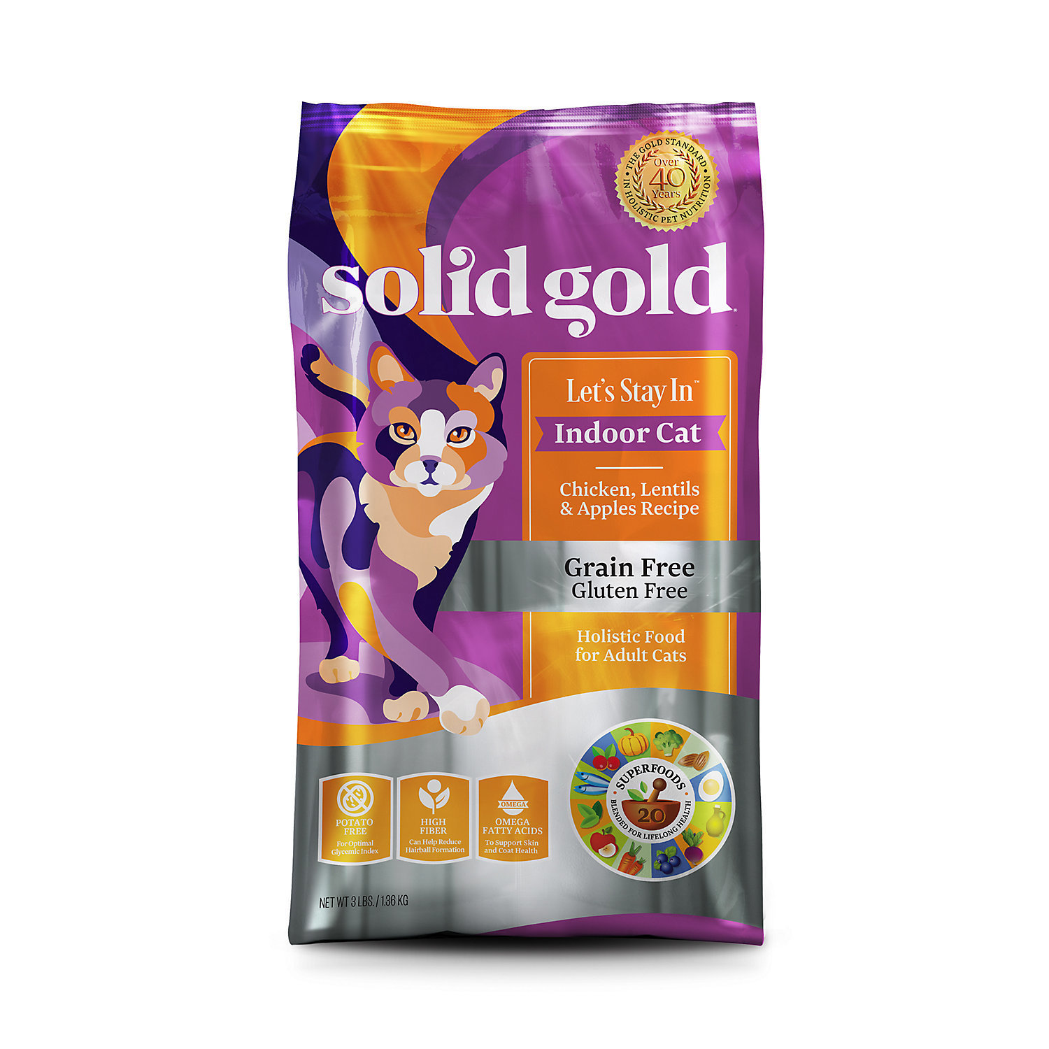 Solid Gold Let's Stay In Indoor Cat Chicken, Lentil & Apple Recipe for Adult Cat 6 lbs. (11/18) (A.O1)
