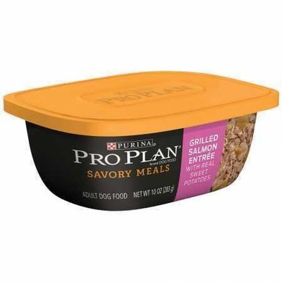Purina Pro Plan Savory Meals Grilled Salmon Entree Adult Dog Food 10 Oz 8 count (3/19) (A.K4)