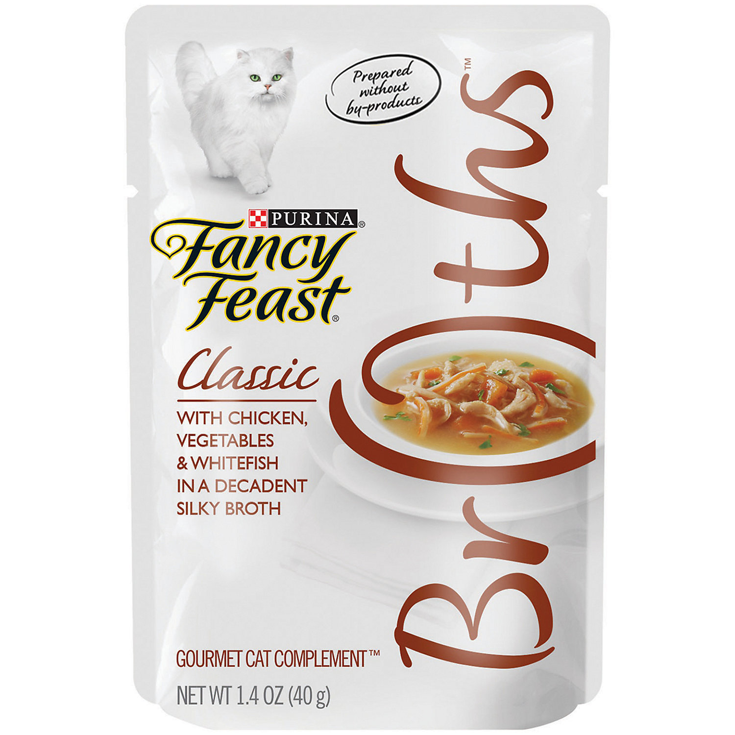 Fancy Feast Broths Classic Chicken, Vegetables & Whitefish Cat Food Complement,(9/18) (A.K4)