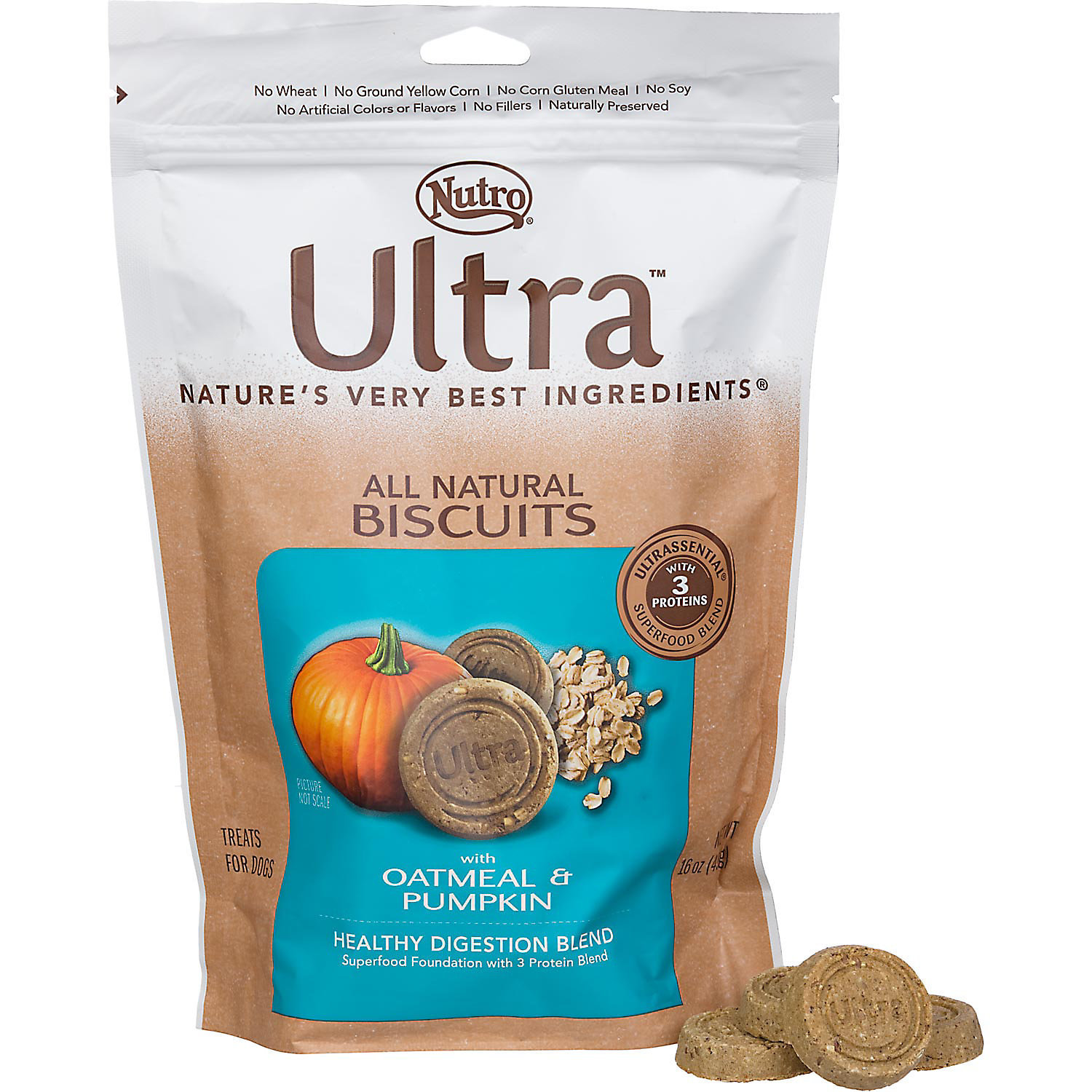 Nutro Ultra Healthy Digestion Adult Dog Biscuits (16 oz. Oatmeal & Pumpkin) (12/18) (A.P1)