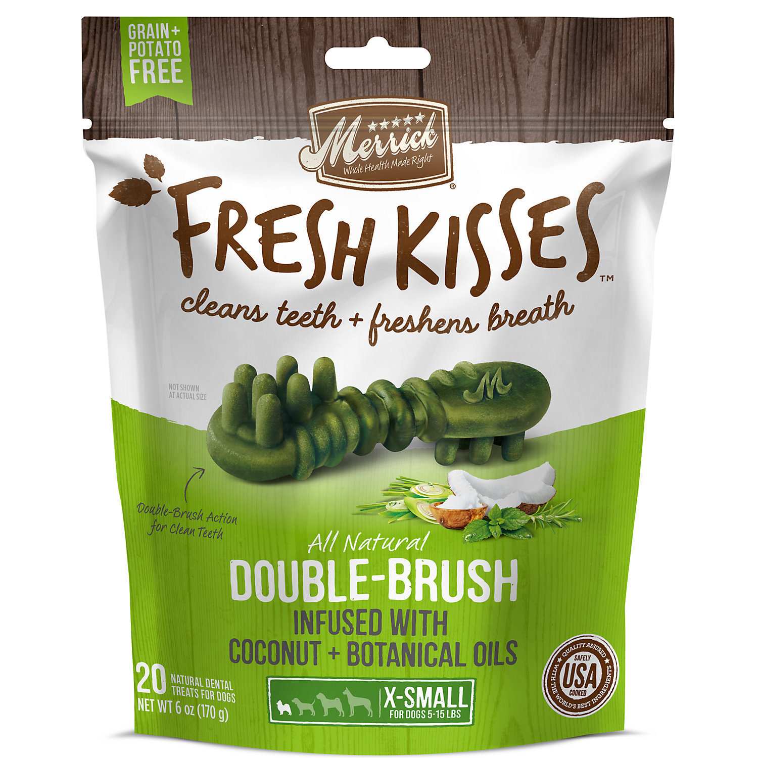 Fresh Kisses Coconut Oil  Botanicals Extra Small Brush Dental Dog Treats, 20 Count (3/17) (T.B14)