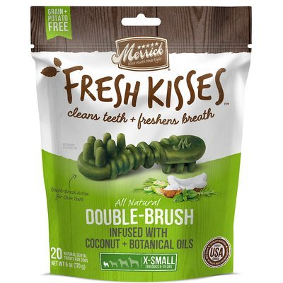 Fresh Kisses Coconut Oil  Botanicals Extra Small Brush Dental Dog Treats, 20 Count (3/19) (T.B14)