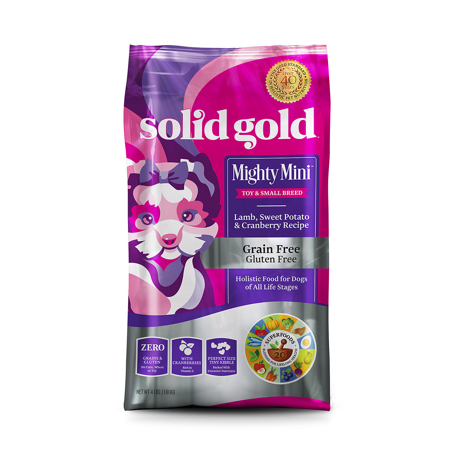 Solid Gold Mighty Mini Lamb, Sweet Potato & Cranberry Recipe Grain Free Dry Dog 4 lbs. (12/18) (A.M3)