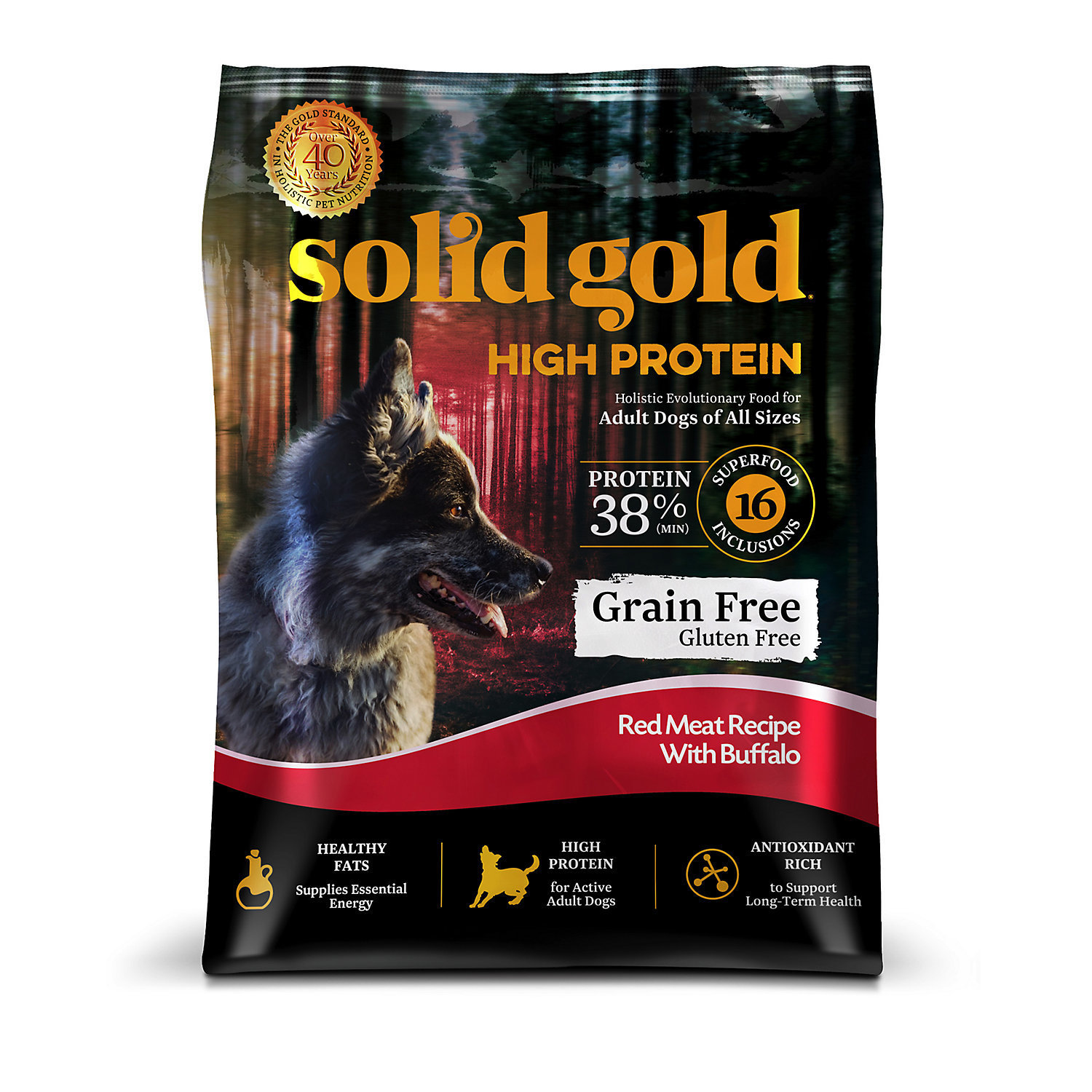 Solid Gold High Protein Grain and Gluten Free Dry Dog Food, Red Meat and Buffalo 22 LBS. (12/18) (A.M8)