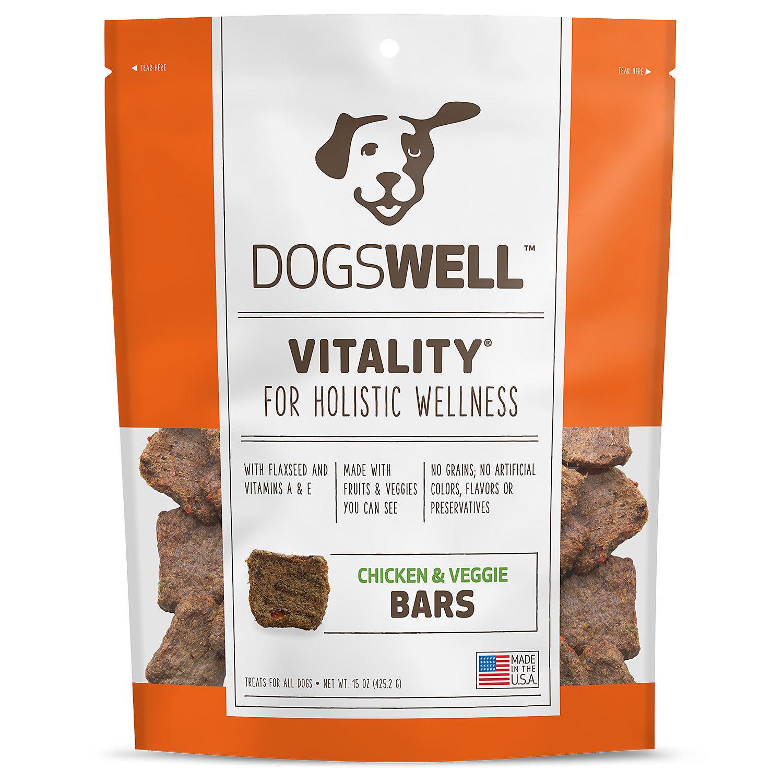Dogswell Vitality Jerky Bars Chicken & Veggies Dog Treats, 15 oz. (1/18) (T.D3)