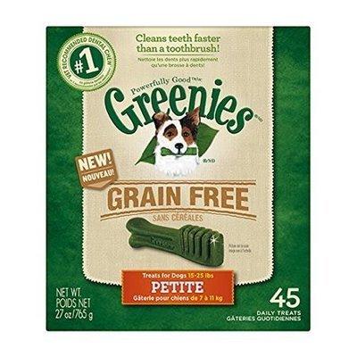 GREENIES Grain Free Dental Chews Petite Treats for Dogs -45 COUNT 27 oz (4/19)  (T.B10)