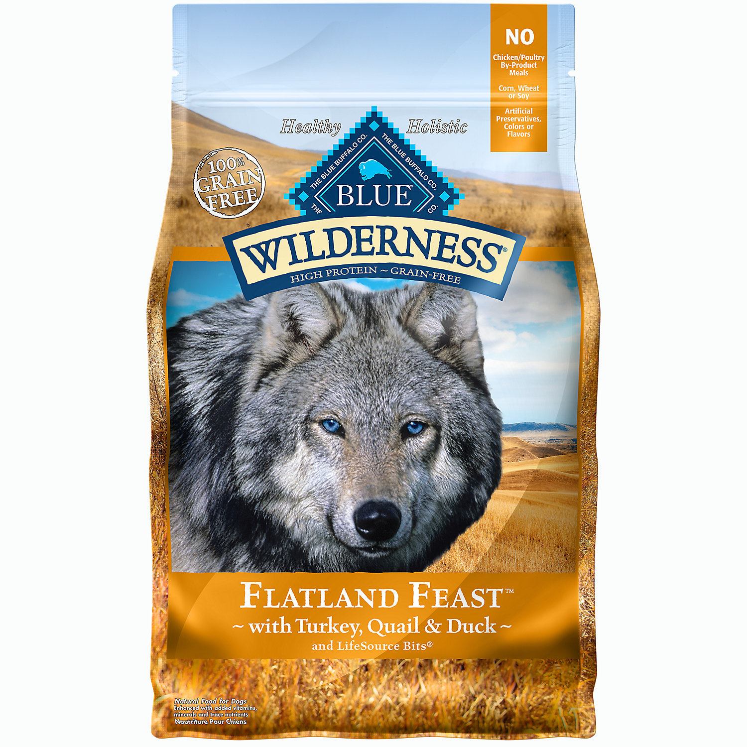 Blue Buffalo Wilderness Regional Blends Flatland Feast Turkey, Quail and Duck 4lbs (3/20)