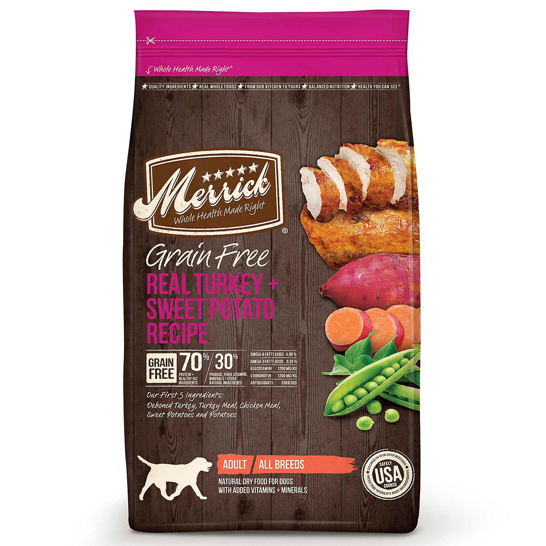 Merrick Grain Free Real Turkey & Sweet Potato Dry Dog Food, 4 lbs. (1/19) (A.J1)