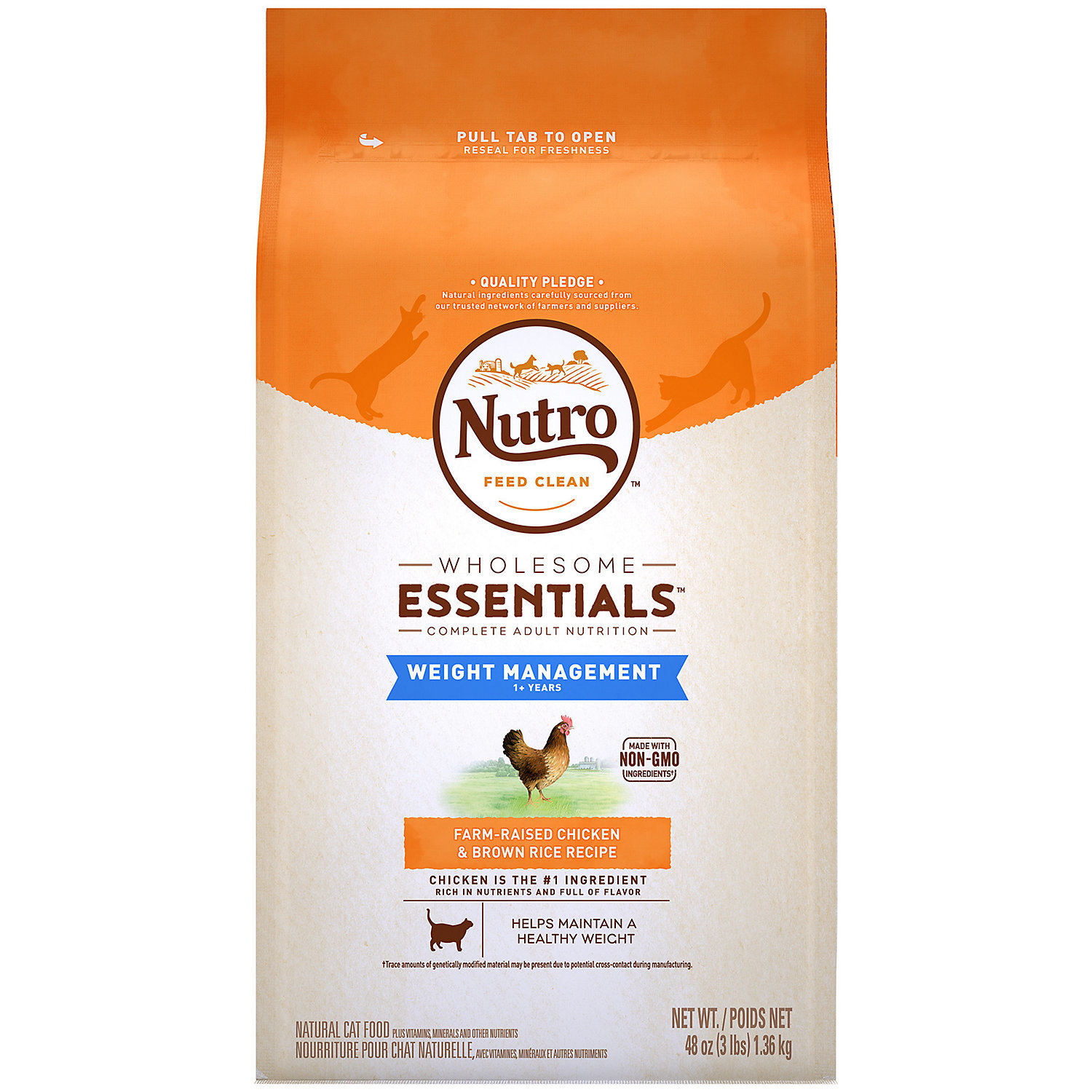 Nutro Natural Choice Chicken & Brown Rice Weight Management Adult Cat Food, 3 lb (1/20) (A.M3)