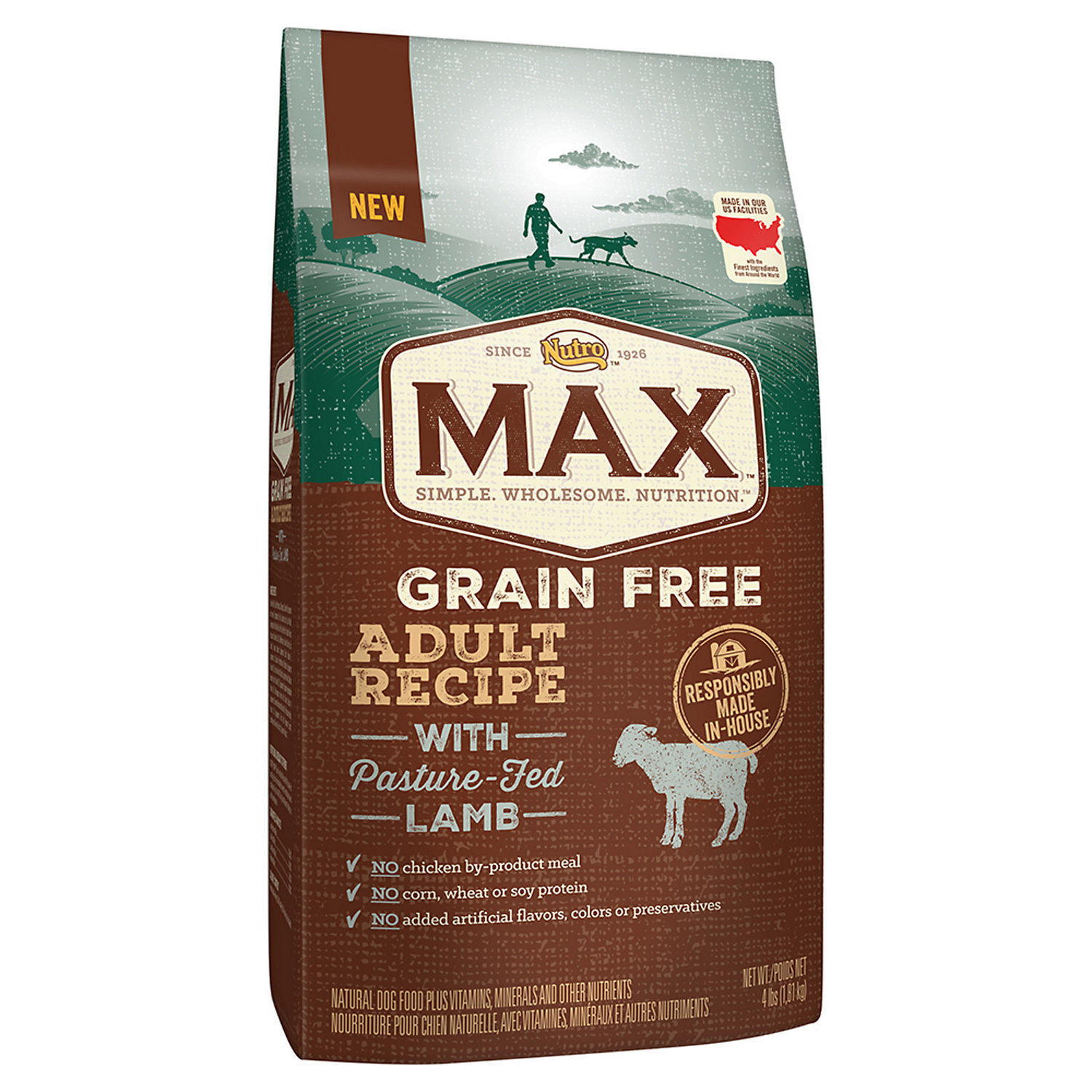 Nutro Max Medium Adult Dog Food Grain Free Lamb 4 lb. (1/19) (A.O1)