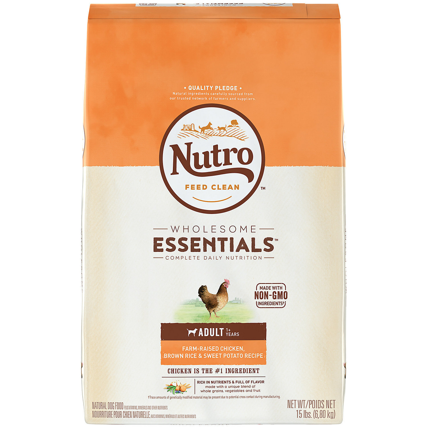 Nutro Natural Choice Chicken, Whole Brown Rice and Oatmeal Adult Dog Food, 15 lb (1/19) (A.M2)