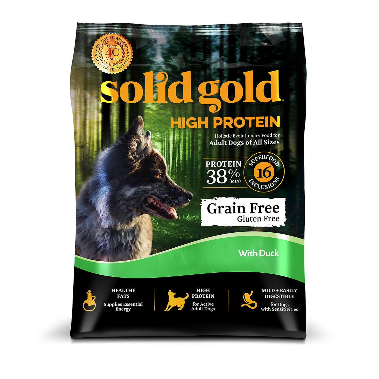 Solid Gold High Protein Grain and Gluten Free Dry Dog Food, Duck, 22 lbs (1/19) (A.Q4)