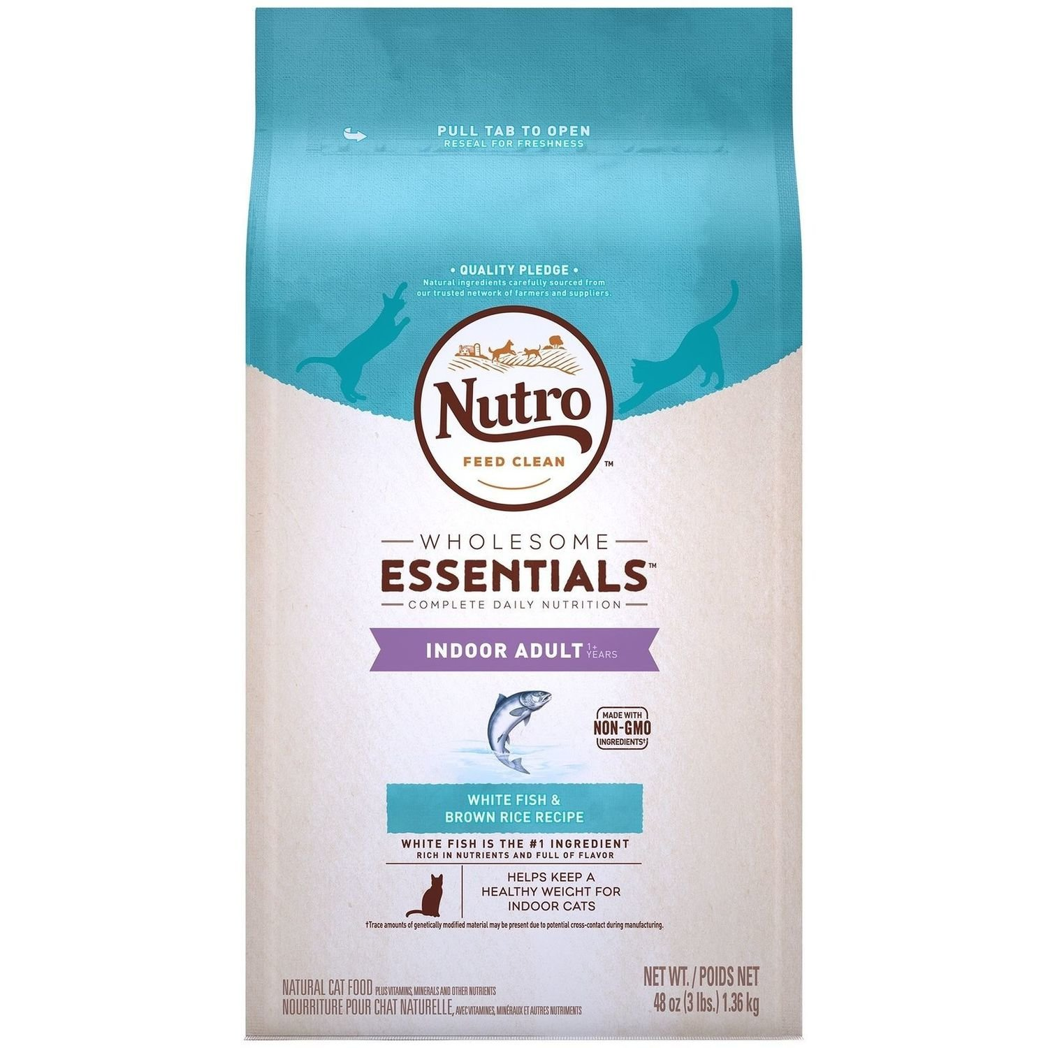 Nutro Natural Choice Whitefish & Whole Brown Rice Indoor Adult Cat Food, 3 lbs. (1/19) (A.J3)