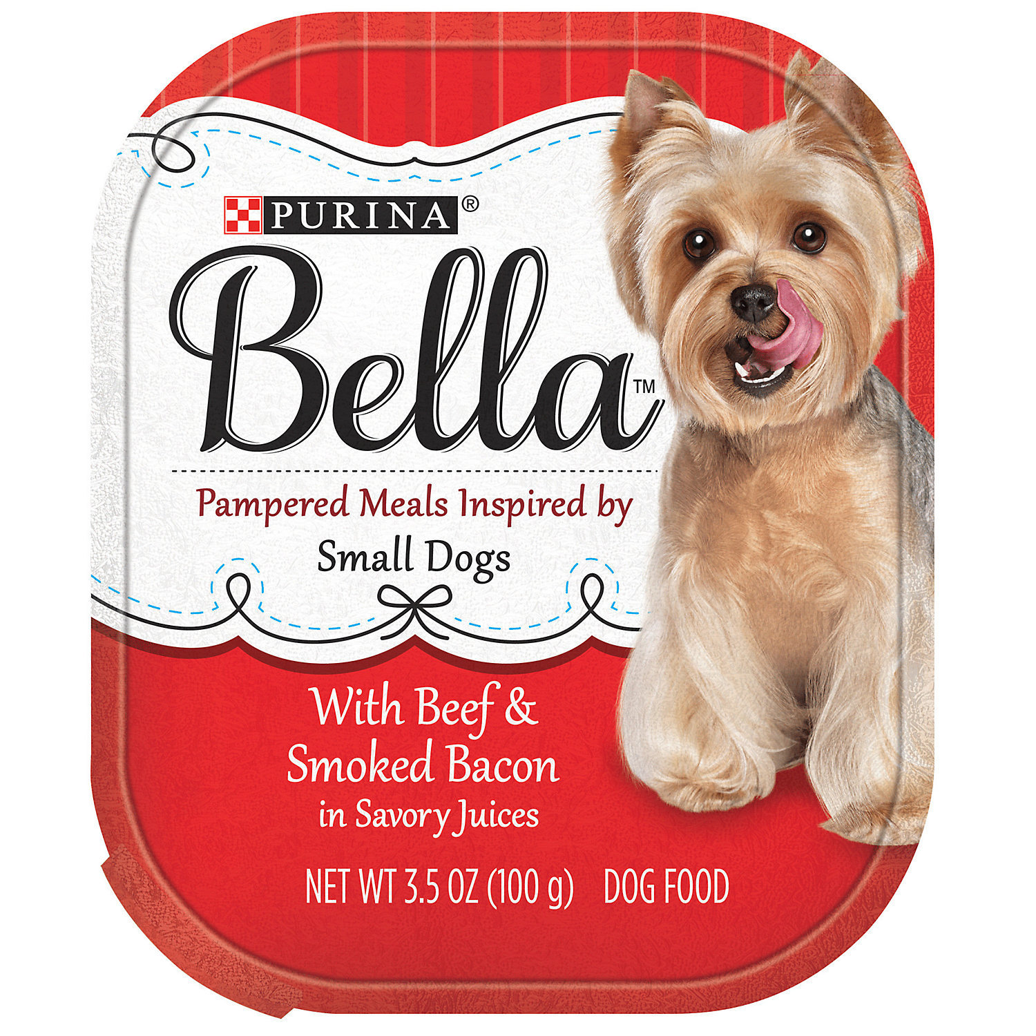 Purina Bella With Beef & Smoked Bacon in Savory Juices Adult Wet Dog Food, 12 x 3.5 oz (A.I4)