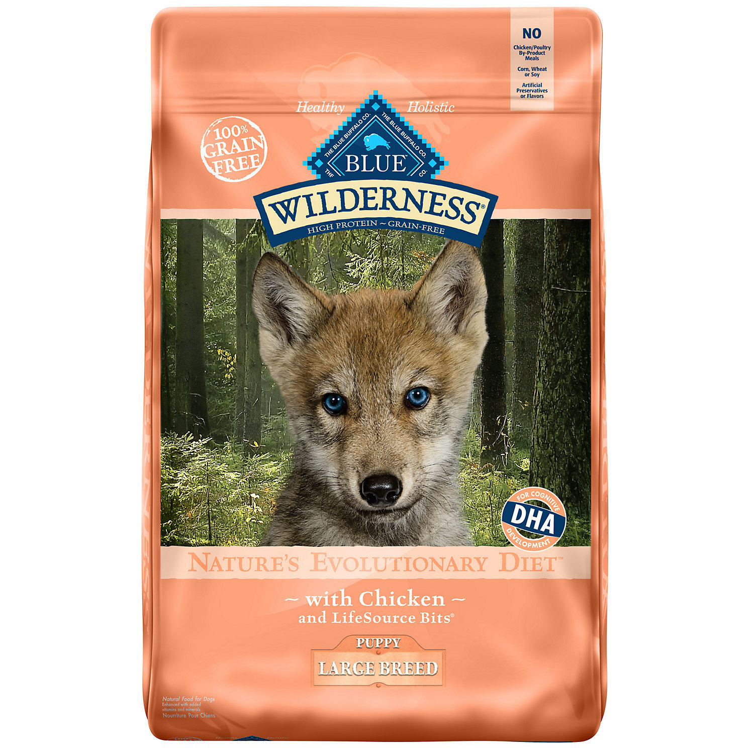 Blue Buffalo Wilderness Chicken Large Breed Puppy Food, 22 lbs. (A.N7) (9/18)