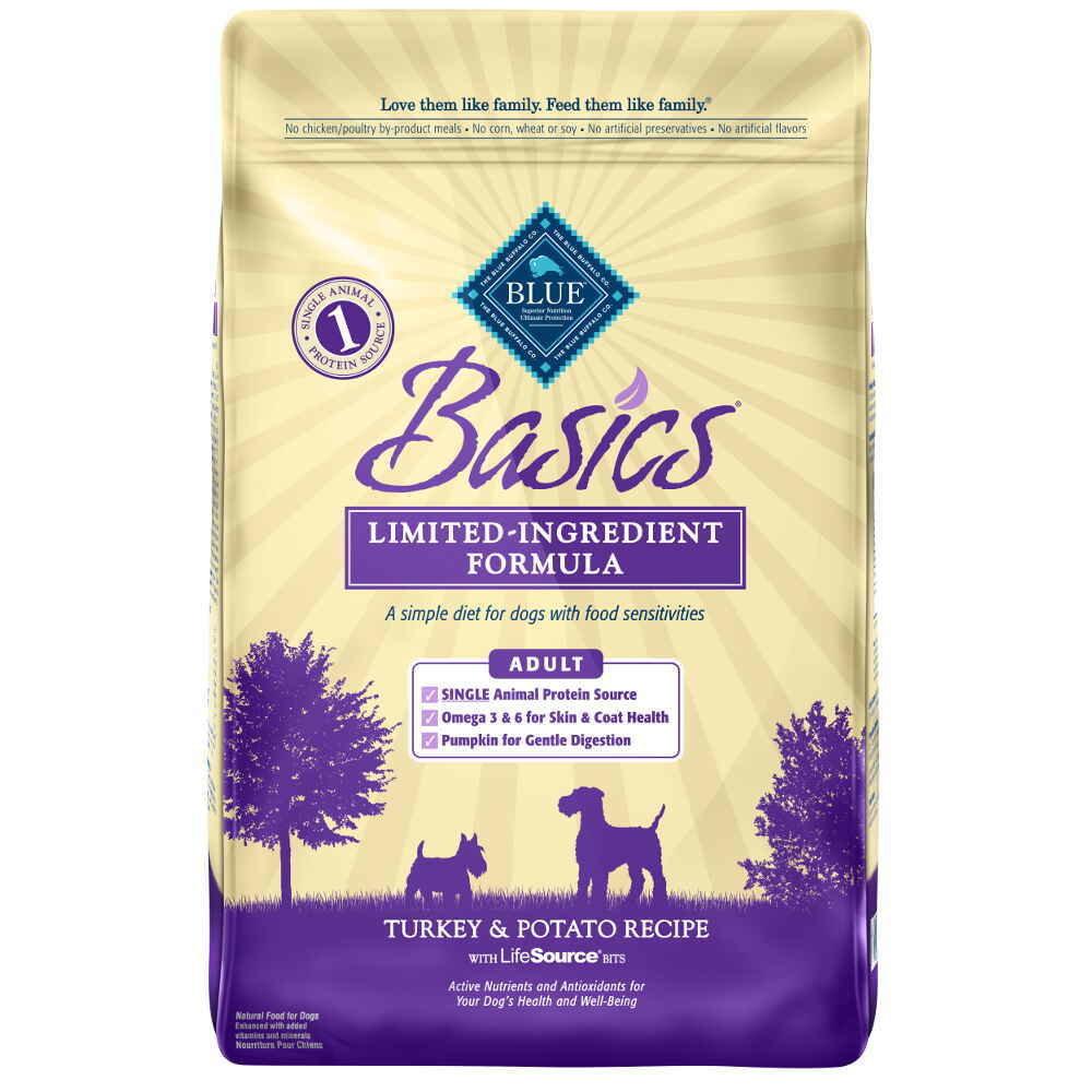 Blue Buffalo Basics All Breeds Adult Dog Turkey & Potato Recipe 24 lb. (10/18) (A.P2)