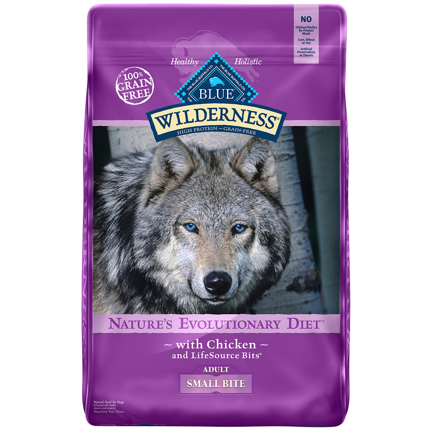 Blue Buffalo Wilderness Grain Free Chicken Adult Small Bites Dry Dog Food, 24 lb (10/18) (A.E1)