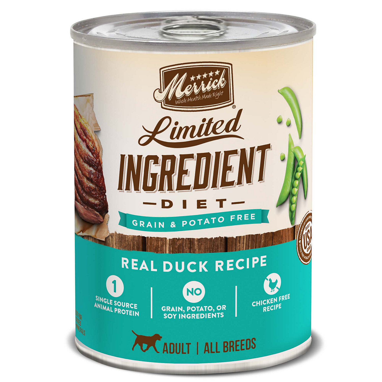 Merrick Limited Ingredient Diet Real Duck GRAIN & POTATO FREE Recipe Dog Food, 12.7 oz., Case of 12 (2/17) (A.J4)
