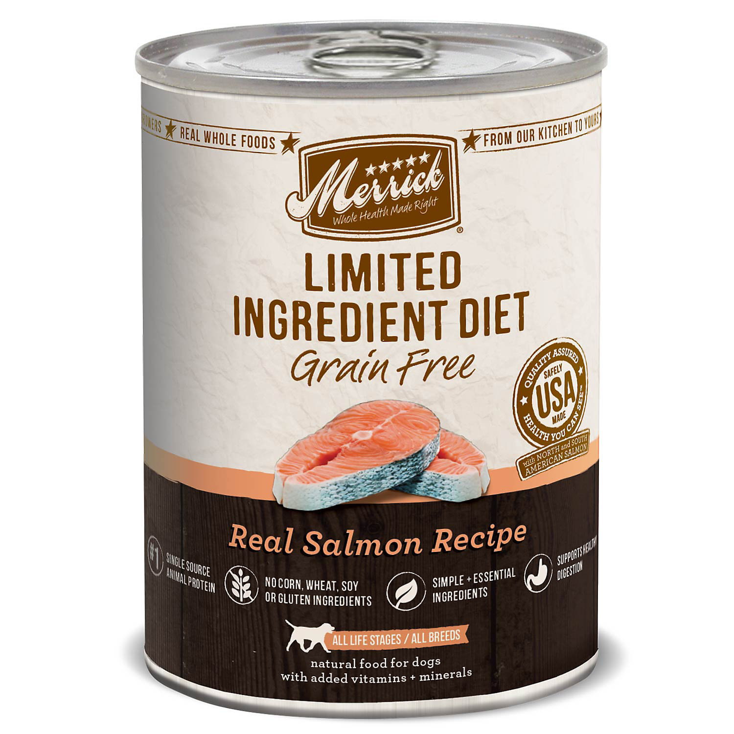 Merrick Limited Ingredient Diet Real Salmon GRAIN FREE Recipe Pet Food, 12.7-Ounce, 12-Pack (4/17) (A.A.2)