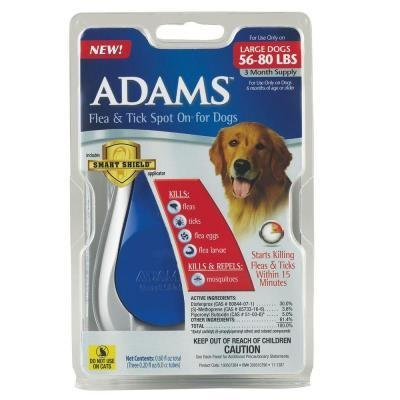 Adams Flea & Tick Control Flea and Tick Spot-On for Large Dogs 56 lbs. - 80 lbs.  *May Ship Out of Package* (O.I2)