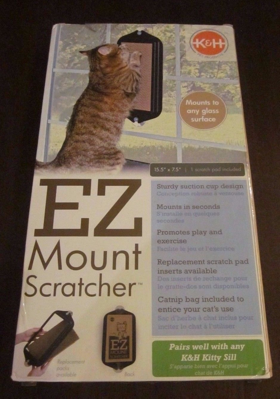 "K&h Pet Products EZ Mount Window Scratcher Black 5"" x 10"", Brown (RPAL-A10)"