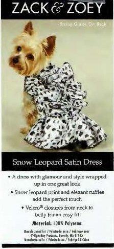 Snow Leopard Ruffled Satin Dress - XS (APPAREL)