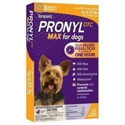 Pronyl OTC Max Dog Flea & Tick Sqz-On, Up to 22lbs, 3 Month Supply (O.F2)