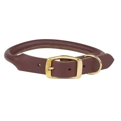 "Rolled Leather Collar 1"" Adjust 22-26"" (RPAL141)"