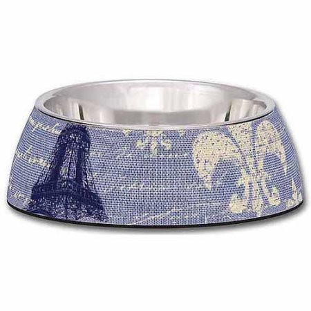 Loving Pets Blue Linen Milano Bowl for Dogs, Medium