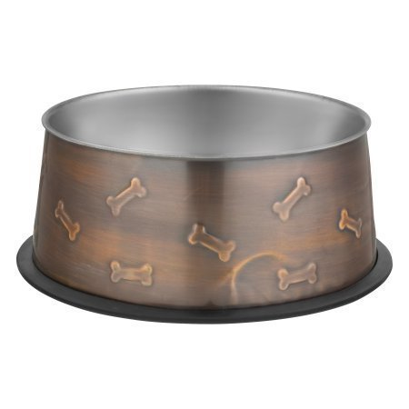 Loving Pets Artistic Antique Copper Dog Bowl, Large (48 oz.) (B.D7)
