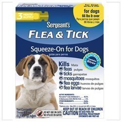 Sergeant's Flea and Tick Squeeze-On, Dog, Over 66-Pound 3 Tubes **May Ship Out of Box** O.I4)
