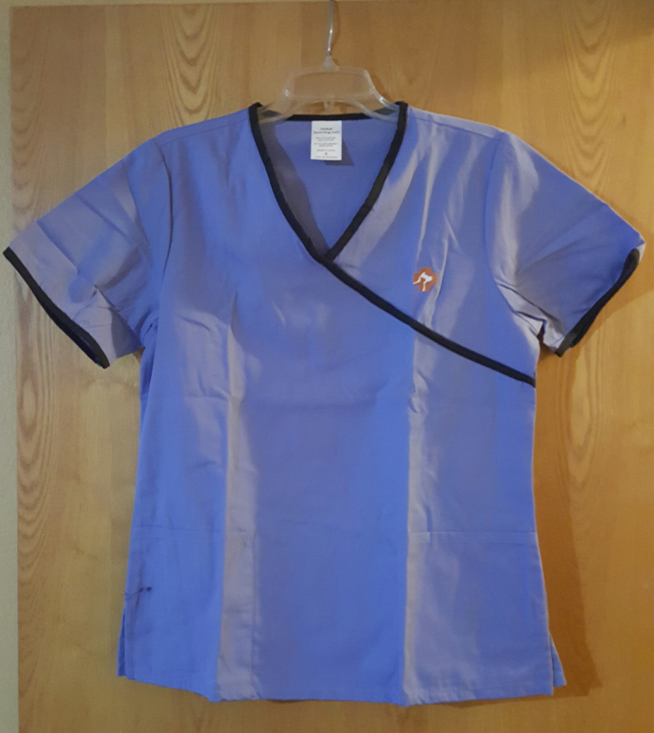 Scrub Top with First Aid Dog & Cat Logo - Light Blue XL