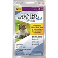 Sentry Fiproguard Plus for Cats Over 1.5 lbs and over 8 weeks of age .50 mL 3 Tubes **(Note:  Tubes Ship Out of Box) (O.K1)