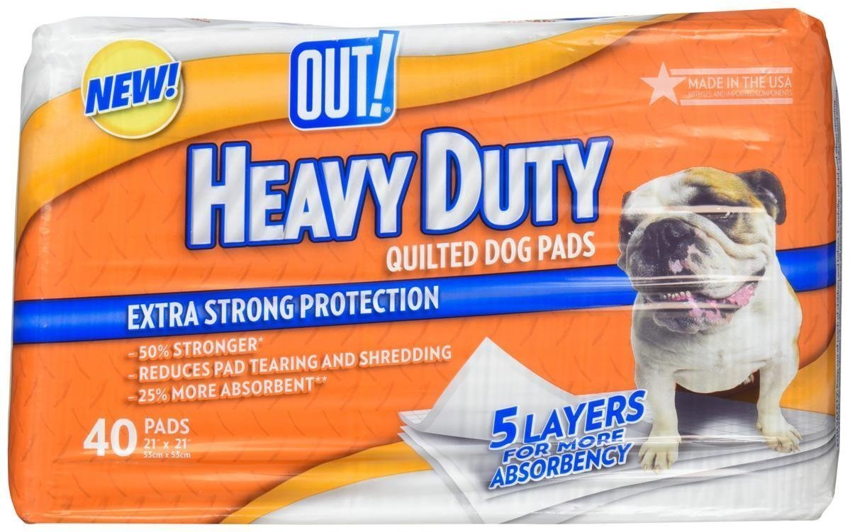 """Out """"Heavy Duty"""" Quilted Pee Pads In Package 21"""" x 21"""" 40 Count"""