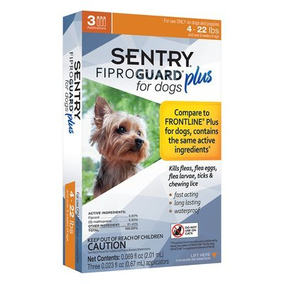 Sentry Fiproguard Plus for Dogs 4-22 lbs and over 8 weeks of age .67 mL (3 Tubes)  (Note:  Tubes Ship Out of Box) (O.E2/K1)