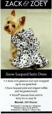 Snow Leopard Ruffled Satin Dress - XS (APPAREL)