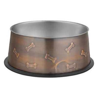 Loving Pets Artistic Antique Copper Dog Bowl, Large (48 oz.) (B.D7)
