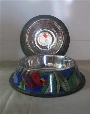 Rainforest Painted Bowls Non-Tip Bowl with Rubber Trim Base 32 Oz (B.D8)
