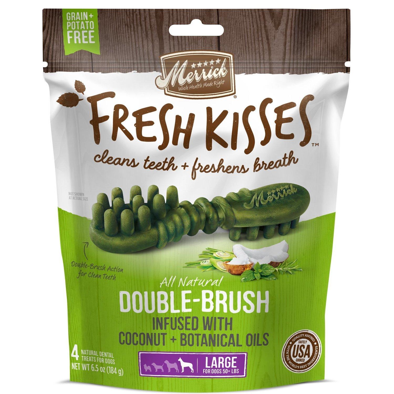 Fresh Kisses Coconut Oil  Botanicals Large Brush Dental Dog Treats, 4 Count (1/19) (T.D2)