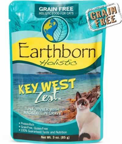 Earthborn Grain-Free Key West Tuna Pouch Cat Food 3 oz 24 count (2/19) (A.K2/AM6)  **NOTE:  THIS IS A FULL BOX OF 2 CASES OF 12 COUNT