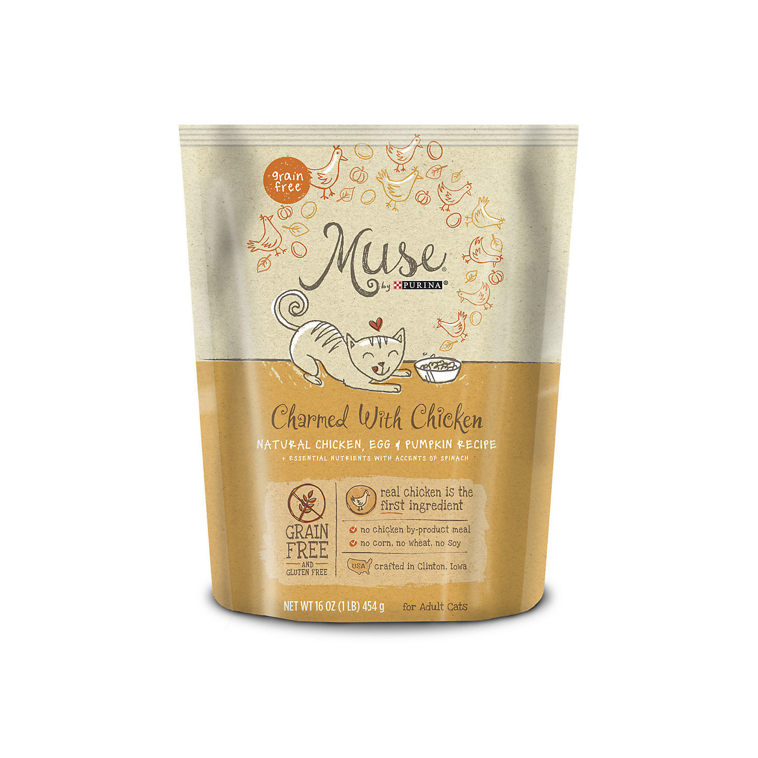 Muse by Purina Charmed With Chicken Natural Chicken, Egg & Pumpkin Recipe Cat Food 1 lb (3/19) (A.J1)