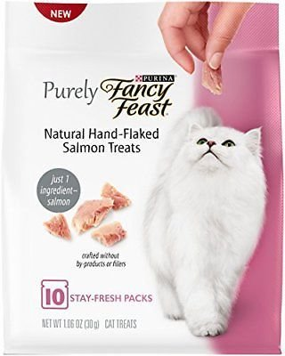 Purina Fancy Feast Purely Natural Hand-Flaked Salmon Wet Cat Treats, 1.06 Oz. (3/19) (A.K3)