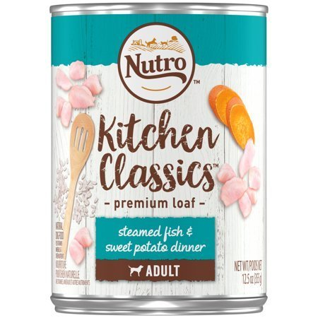 Nutro Kitchen Classics Steamed Fish Sweet Potato Dinner Adult Canned Dog Food 12.5 oz 12 count (6/19) (A.N7)