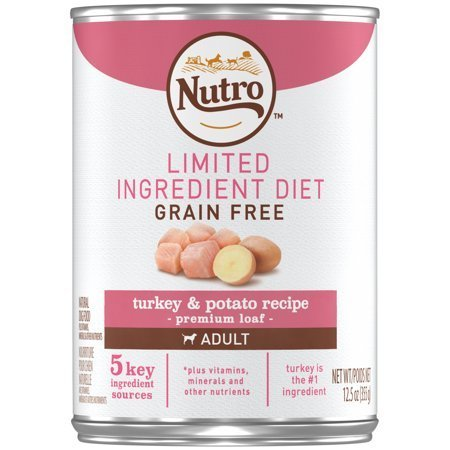 Nutro Limited Ingredient Diet Grain Free Turkey & Potato Pate Canned Dog Food 12.5 oz 12 count (3/19) (A.I4)